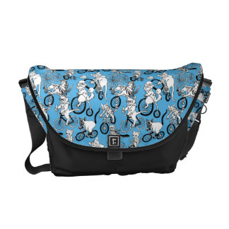 Cats on Bikes pattern Messenger Bag