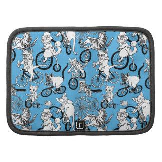 Cats on Bikes pattern Folio Planners