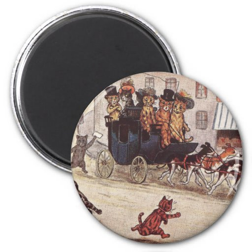 Cats on Coach Race Down High Street 2 Inch Round Magnet