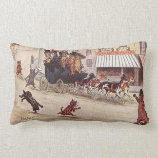 Cats on Coach Race Down High Street Throw Pillow