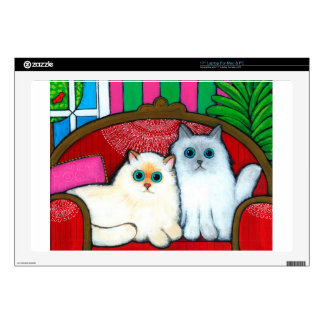 """Cats on Couch 17"""" Laptop Skins"""