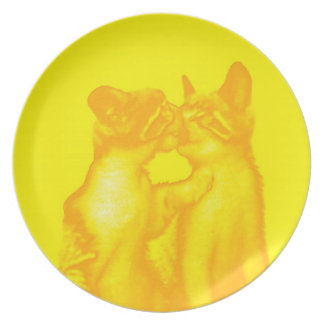 Cats on plate