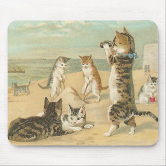 """Cats on the Beach "" Vintage Mousepad"