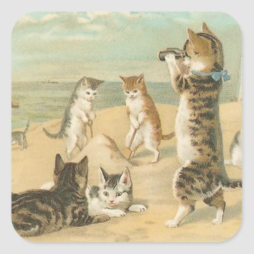 """Beach Themed """"Cats on the Beach """" Vintage Square Sticker"""