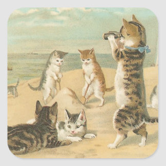 """Cats on the Beach "" Vintage Square Sticker"