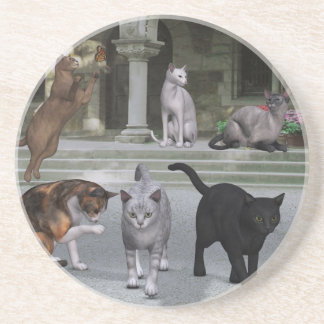 Cats on the Palace Steps Coasters