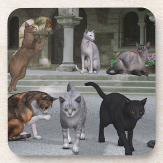 Cats on the Palace Steps Beverage Coasters