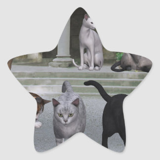 Cats on the Palace Steps Star Sticker