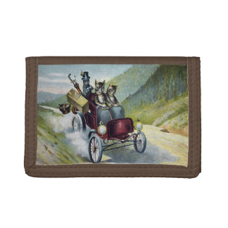 Cats Out For a Jaunt in a Vintage Auto Tri-fold Wallet
