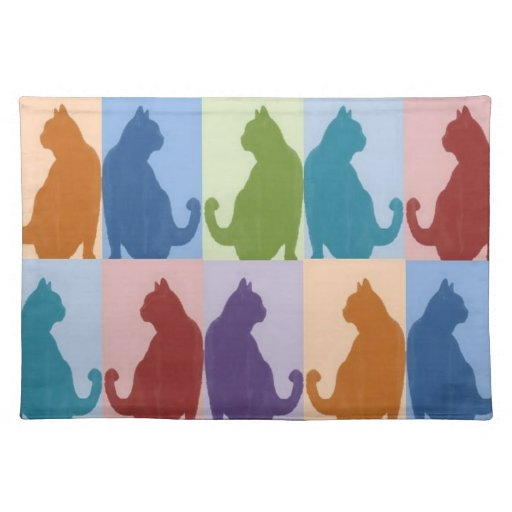 Cats Pastel Silhouette Place Mat