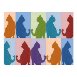 Cats Pastel Silhouette Postcards