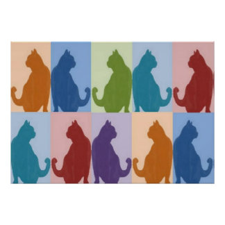 Cats Pastel Silhouette Poster