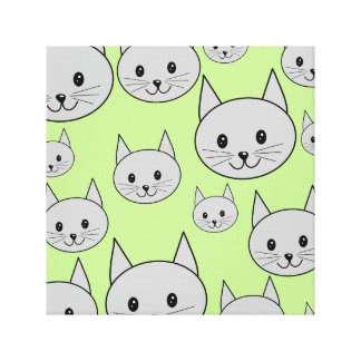 Cats Pattern in Green and Gray. Canvas Print