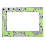 Cats Pattern in Green and Gray. Magnetic Photo Frames