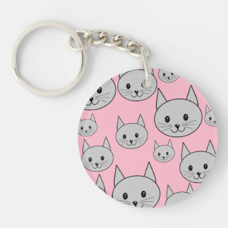 Cats Pattern in Pink and Gray. Keychain