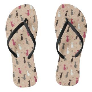 cats Pattern Pink Flip Flops