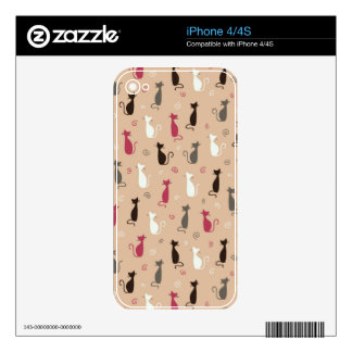 cats Pattern Pink iPhone 4 Decals