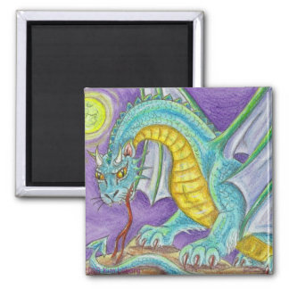 Cats Paw Dragon Fantasy Art 2 Inch Square Magnet