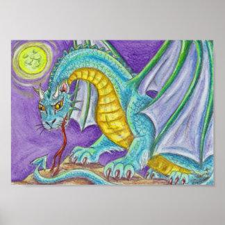 Cats Paw Dragon Fantasy Art Poster
