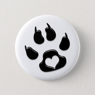 Cat's Paw Print Black Pinback Button