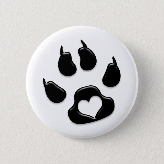 Cat's Paw Print Black Pinback Button