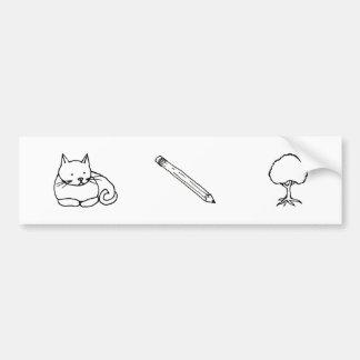 Cats Pencils and Trees - symbols of a life - art Car Bumper Sticker