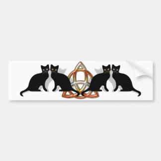 Cats Pentgagram Flame Triquetra Bumper Sticker