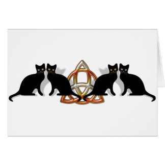 Cats Pentgagram Flame Triquetra Card