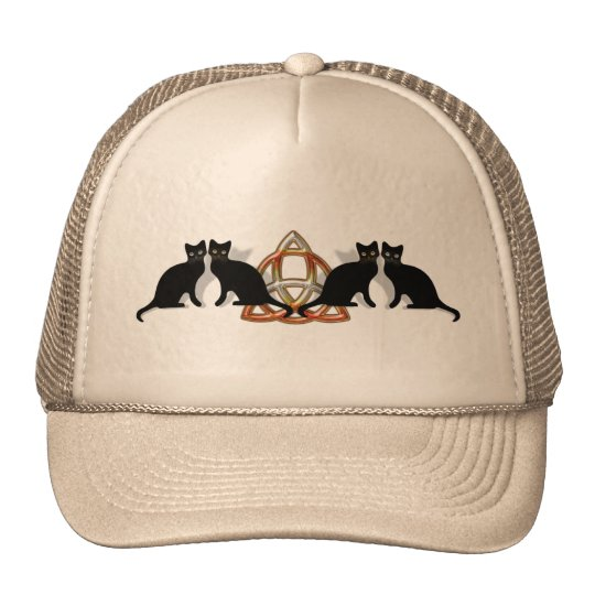 Cats Pentgagram Flame Triquetra Trucker Hat