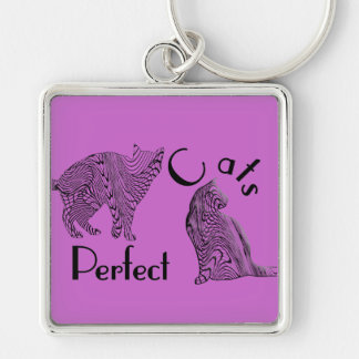 Cats Perfect Tangle Drawing Style Design Keychain