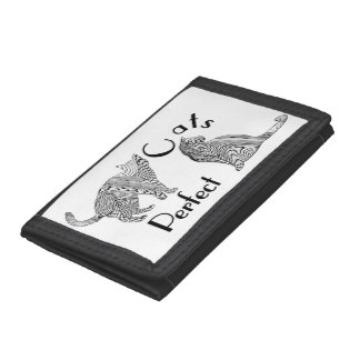 Cats Perfect Zen Tangle Style Picture Trifold Wallet
