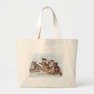 Cats Play Blind Man's Bluff Victorian Trade Card Bag
