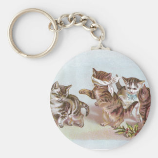 Cats Play Blind Man's Bluff Victorian Trade Card Keychain