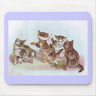Cats Play Blind Man's Bluff Victorian Trade Card Mouse Pad