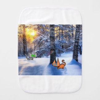 Cats Play Hide And Seek In The Winter Forest Burp Cloths