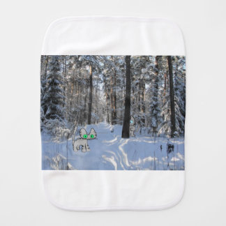 Cats Play Hide And Seek Outside In The Winter Snow Burp Cloth