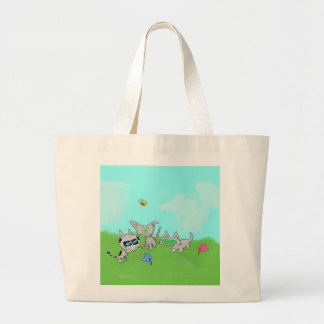 Cats Play In A Field In The Summer Sun Bags