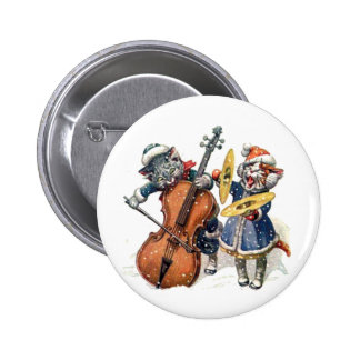 Cats Play the Cello and Cymbals in the Snow Pinback Button