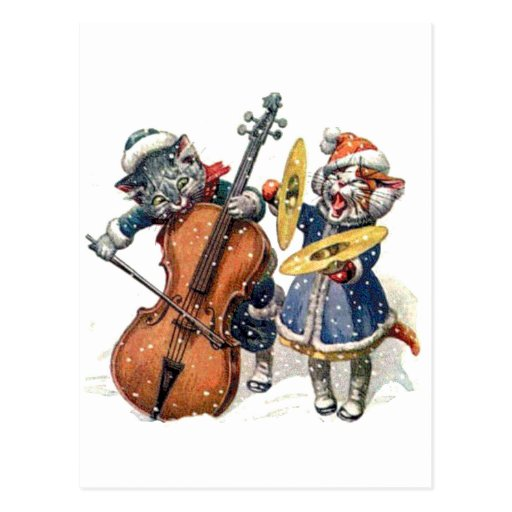 Cats Play the Cello and Cymbals in the Snow Post Cards