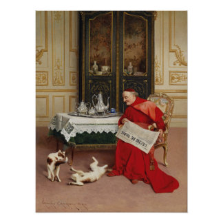 Cats Playing - Cardinal Watching Cats by Croegaert Poster