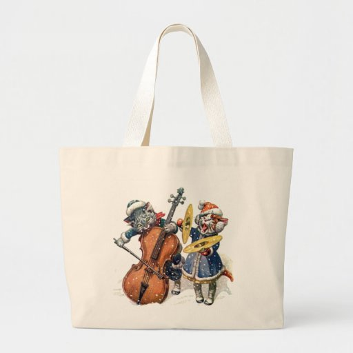 Cats Playing Christmas Music in the Snow Jumbo Tote Bag