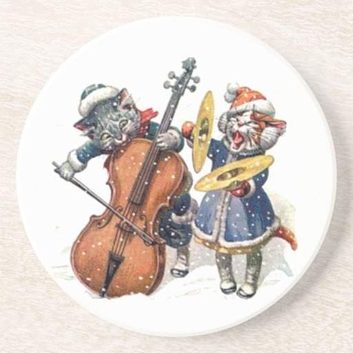 Cats Playing Christmas Music in the Snow Beverage Coasters