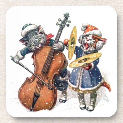 Cats Playing Christmas Music in the Snow Drink Coasters