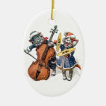 Cats Playing Christmas Music in the Snow Double-Sided Oval Ceramic Christmas Ornament