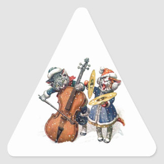 Cats Playing Christmas Music in the Snow Triangle Sticker