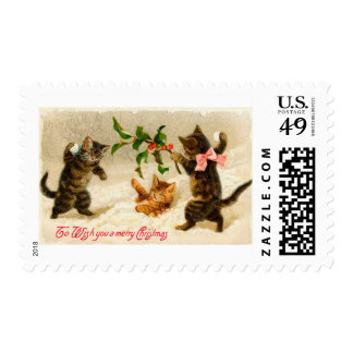 Cats playing in the snow Vintage Christmas Postage