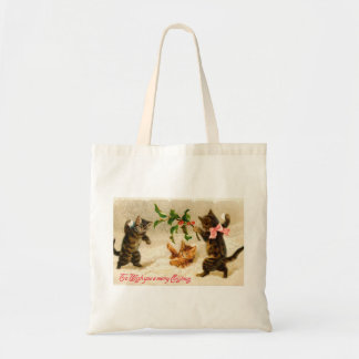 Cats playing in the snow Vintage Christmas Tote