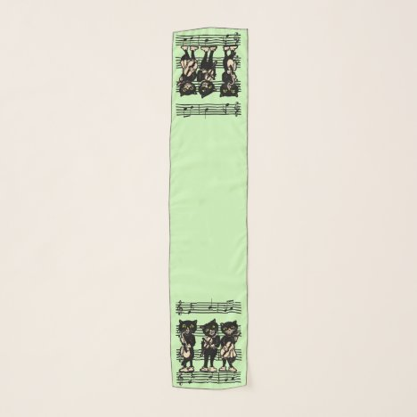 Cats Playing Music on Sheet of Musical Notes Green Scarf