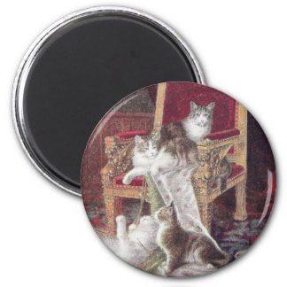 Cats Playing on Red Velvet Chair Vintage 2 Inch Round Magnet