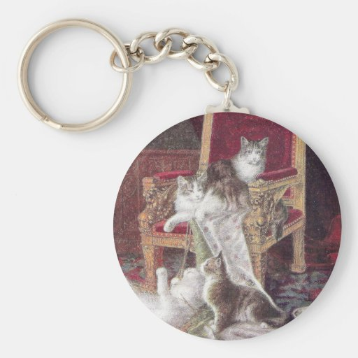 Cats Playing on Red Velvet Chair Vintage Keychain